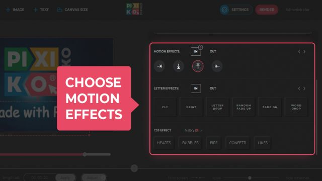Choose motion effects